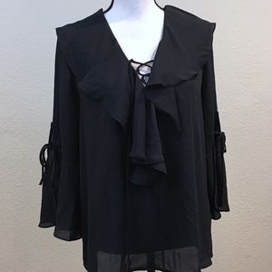 NWOT New York & Co. Ruffled Lace-up Bell Sleeves M